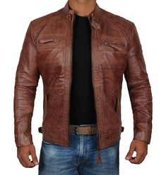 online shopping for Brown Leather Jacket Mens - Cafe Racer Real Lambskin Leather Distressed Motorcycle Jacket from top store. See new offer for Brown Leather Jacket Mens - Cafe Racer Real Lambskin Leather Distressed Motorcycle Jacket Brown Leather Motorcycle Jacket, Mens Leather Coats, Brown Jacket, Lambskin Leather, Real Leather, Motorcycle Jackets For Men, Brown Leather Jackets, Biker Jackets, Men's Jackets
