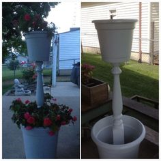 Recycled spindle tower planter: simply screw spindle into bottom of planter, use enough quick crete to firmly hold spindle level, allow to dry completely before screwing too planter on. Now you're ready to plant. Have fun with this DIY project. The possibilities are endless!! #diy #gardening