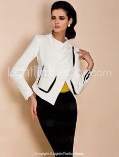 TS Asymmetrical Contrast Color Jacket - USD $ 74.99