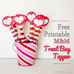 Valentine's Day ~ FREE Printable M&Ms Valentines Treat Bag Toppers