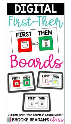 """Digital first-then boards serve as a visual reminder for students of the expectations. The """"first"""" is the work task, or specific task that needs to be completed first. The """"then"""" is the preferred activity(reward), or second required task. This helps students with language and behavior needs know exactly what is expected of them. Work Task, Special Education, The One, Boards, Language, Student, Chart, Activities, Digital"""