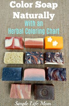 Color Soap Naturally - with an herbal coloring chart for cold process soap or hot process soap for natural skin care from Simple Life Mom Organic Skin Care, Natural Skin Care, Natural Beauty, Soap Colorants, Glycerin Soap, Diy Beauté, Savon Soap, Soap Making Supplies, Homemade Soap Recipes