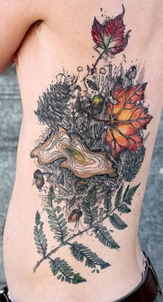 leaves tattoo by david hale, athens ga -- don't usually like colored ink, but can't deny this is gorgeous