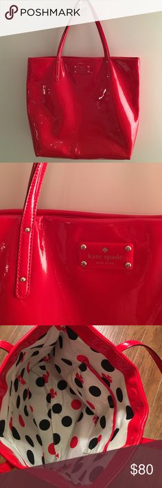 """Kate Spade Red Patent Tote Kate Spade flicker red patent leather shopper tote.  patent leather lends sophisticated elegance to a classic shopper fronted by delicate studs and a gleaming logo embossment. Magnetic-snap closure. Interior zip, wall and cell phone pockets.  In very good condition, some minor wear on bottom seams and on handle straps.  Inner lining in good shape, some pen marks, but clean.  Dimensions: 13""""W x 13""""H x 5""""D. (Measures medium.) Strap drop: 7 1/2"""" kate spade Bags Totes"""