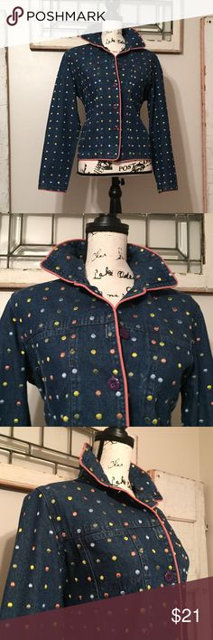 "Vintage Keren Hart Polka Dot Jean Jacket Embroidered polka dot Keren Hart jean jacket. Collared, 5 button down front closure, long sleeves, 2 breast pockets, salmon pink trim. Some polka dot threads are loose. Jacket is 100% Cotton. Trim is 100% Polyester. Tag reads size S. fits more like a Medium. Measurements laying flat. -- 20"" armpit to armpit.  --  24"" sleeves. --  23"" shoulder to hem. --  20"" across at hem Vintage Jackets & Coats Jean Jackets"