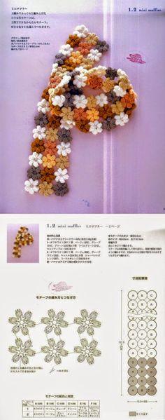 Esquemas de flores crochet para confeccionar bufanda