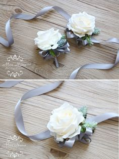 Rustic corsage Pinecone Ivory Rose corsage Rustic