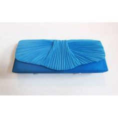 Turquoise ruched chiffon clutch