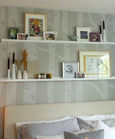 Birch stenciled walls  How about this for our wall @Megan Hand???
