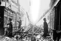 A library takes a direct hit in London during the blitz, and people still come to check out books!