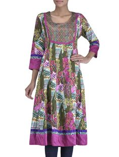 Buy Vastra Vinod Multicolored Printed Cotton Anarkali Kurti Online, , LimeRoad