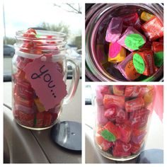 """I did this to surprise my boyfriend. It says """"you..."""" On the paper then every starburst finishes that sentence such as """"never give up on me"""" """"make me smile"""" """"sing with me in the car"""" stuff like that, he loved it!(: I just used a mason jar, his favorite candy, and the little dots people use for garage sales!"""