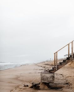 Staircase to the beach. Serene solitude by the ocean. Foggy day by the sea. Photography Beach, Landscape Photography, Travel Photography, The Beach, Beach Walk, Beach Relax, Adventure Travel, Beach Adventure, Seaside