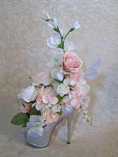 Silk Wedding Flower Arrangement with White by AlwaysInBloomFloral
