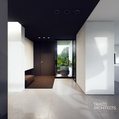 - house interior design on Behance Home Room Design, Home Interior Design, Interior Architecture, Interior And Exterior, House Design, Tamizo Architects, Industrial Office Design, Open Plan Kitchen Living Room, House Entrance