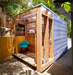 Art Shed - contemporary - garage and shed  change corrugated metal for wood