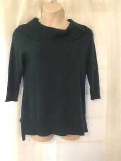 Chico's size 2 Ladie Green Cowl Neck, 3/4 sleeve long soft sweater New #Chicos #CowlNeck