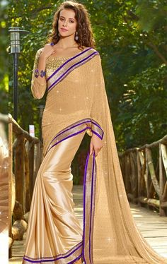 Picture of Fashionable Cream Color Wedding Saree Online