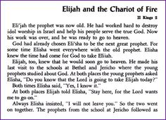 Elijah and the Chariot of Fire (Story) - Kids Korner - BibleWise