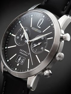 Graf Zeppelin Flatline Big Date, Chronograph Watch with Anthracite Dial #7386-2