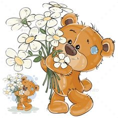 Vector illustration of a brown teddy bear holding a bouquet of flowers in his paws. Print, template, design element for greeting c