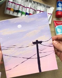 Getting some Bob Ross vibes! ❤ 👏 Artist Getting some Bob Ross vibes! Simple Canvas Paintings, Small Canvas Art, Cute Paintings, Easy Canvas Painting, Mini Canvas Art, Diy Painting, Paintings Tumblr, Sunset Painting Easy, Moon Painting