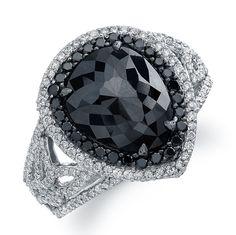 white gold, pear-shaped, black diamond ring