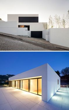House Exterior Colors - 11 Modern White Houses From Around The World | The clean lines of this white house and it's position on a cobbled street make it look exceptionally modern.