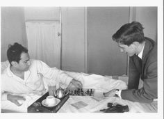 Bobby visits Mikhail in hospital 1962. My two favorite players.
