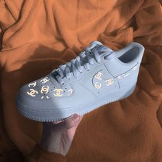 Nike Air Force 1 with Reflective CHANEL prints by tony Sneakers Mode, Sneakers Fashion, Fashion Shoes, Shoes Sneakers, Shoes Jordans, Jeans Shoes, Asics Shoes, Nike Fashion, Air Jordans