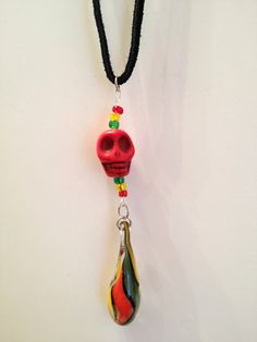 skull NECKLACE rasta necklace red yellow & by terrancesPARENTS, $15.00