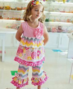 GIRLS CHEVRON PRINTED RUFFLE DRESS