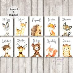 Woodland Animal Quote Nursery PRINTABLE Prints Set of 10 Woodland Animal Prints Inspirational Quote Prints Nursery Forest Animals Neutral Woodland Nursery Prints, Woodland Animal Nursery, Woodland Animals, Woodland Forest, Woodland Theme, Baby Animal Nursery, Baby Animals, Nursery Themes, Nursery Wall Art