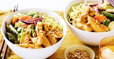 Have dinner on the table in under 30 minutes with this tasty satay chicken and noodle stir-fry.