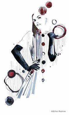 Ellie Rahim #illustration   Angelys Balek dress.  #sketch #fashion #dress