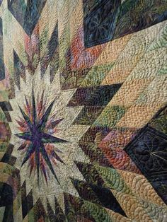 Looks like feather quilting on the star ~ I have a great star quilt to quilt and wasn't sure what to quilt on it...now I know!