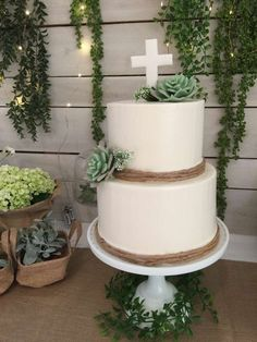 Succulent cake at a garden baptism party! See more party ideas at CatchMyParty.com!