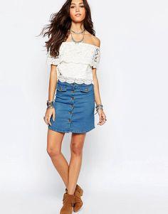Super fede Wyldr Denim Pencil Skirt With Popper And Pockets - Blue WYLDR Pencil Nederdele til Damer til enhver anledning