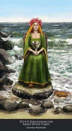 queen of chalices - Green Witch Tarot (in-progress deck) --  If you love Tarot, visit me at www.WhiteRabbitTarot.com