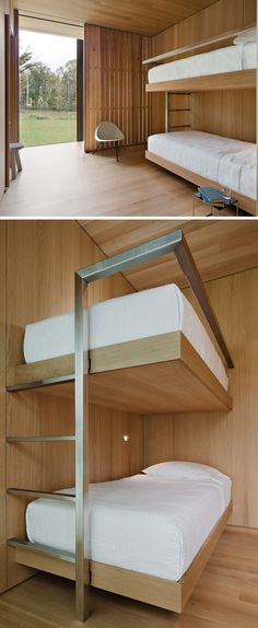Wood, white  steel bunk beds.