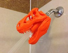 Jurassic World Inspired Tyrannosaurus Rex Shower Head ! Made to Order! 3D Printer Object! T-Rex for the shower! Great gift for dinosaur fan