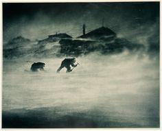 Blizzard at Cape Denison ~ Cape Denison, Antarctica, c. 1912. Frank Hurley. carbon print