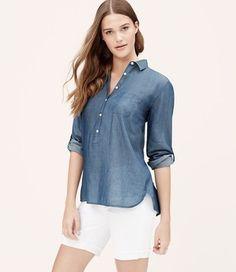 Ann Taylor Loft Button Down Shirt Breezy Blue Chambray