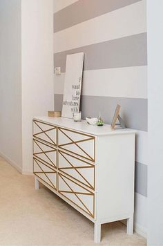 Tarva is one of the most popular dressers by Ikea, and I'm sure that most of you have one or more at home. But Ikea is known for making plain . Hack Commode Ikea, Ikea Tarva Dresser, Dresser Drawers, Furniture Makeover, Diy Furniture, Dream Furniture, Striped Walls, Home And Deco, My New Room