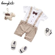 Check lastest price Baby Boys Summer Style Simple Romper Infant Boys Khaki And Blue Printing Clothes Children Gentleman With Bow Tie Jumpsuit just only $11.58 - 18.98 with free shipping worldwide  #babyboysclothing Plese click on picture to see our special price for you