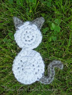 MandaLynn's Crochet Treasures : Crochet Aizen The Kitty Applique.  A quick and easy applique for cat lovers!