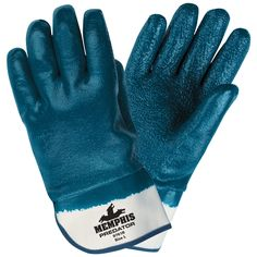 MCR Safety Work Gloves on sale at Full Source! Order the MCR Safety Predator Fully Coated Rough Nitrile Gloves - Safety Cuff online or call Mens Gloves, Leather Gloves, Best Work Gloves, Chemical Gloves, Safety Clothing, Free Black, Knitted Gloves, Cotton Thread, Blue And White