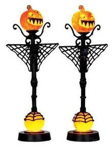 34622 - Spiderweb Jack O'Lamp Post, Set of 2, Battery-Operated (4.5v)  - Lemax Spooky Town Halloween Village Accessories