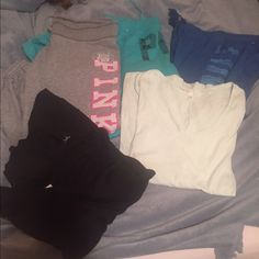 Victoria secret PINK bundle All 5 items included in price. Used sweat pants with plenty of life left. Mint green Victoria secret top and black PINK top both super light and airy. All sizes small PINK Victoria's Secret Pants