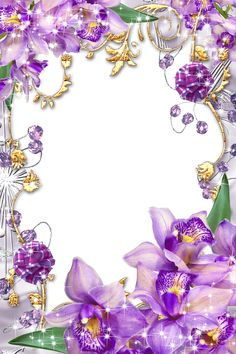 Transparent Purple Frame | Purple-Flowers-Golden-Floral-Picture-Frame